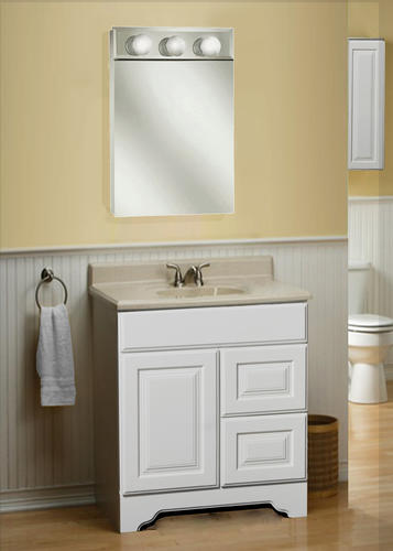"Pace 18"" Frameless Lighted Beveled Mirror Medicine Cabinet"