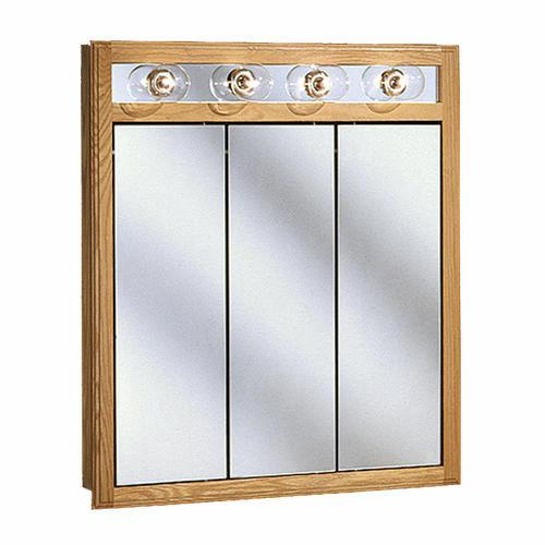 "Pace 30"" Oak Lighted Tri-View Medicine Cabinet at Menards®"