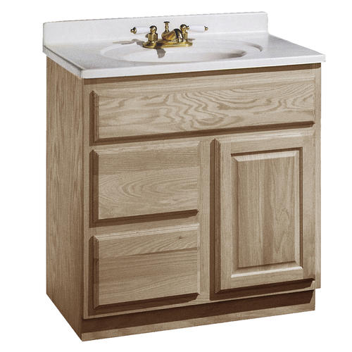 pace 30 x 18 unfinished oak vanity with drawers on left