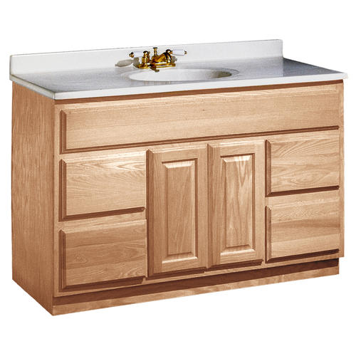 pace 48 x 21 unfinished oak vanity with drawers at menards