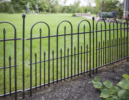 Enchanted garden 30 quot h x 36 quot w triple arch fence panel black at menards