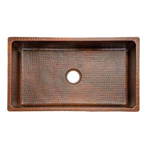 """33"""" Hammered Copper Kitchen Single Basin Sink at Menards"""