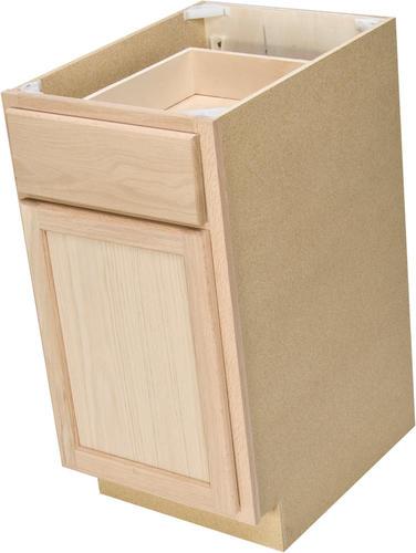 quality one 15 x 34 1 2 unfinished oak base cabinet with drawer at menards. Black Bedroom Furniture Sets. Home Design Ideas