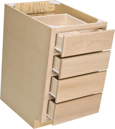 """Unfinished Kitchen Base Cabinets: Quality One™ 18"""" X 34-1/2"""" Unfinished Oak 4-Drawer Base"""