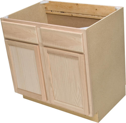 Quality One 36 X 34 1 2 Unfinished Oak Sink Base Cabinet With False Drawers At Menards