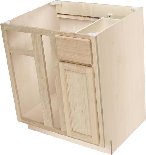 Quality one 36 x 34 1 2 unfinished premium oak blind corner base cabinet w drawer at menards for Unfinished bathroom vanities menards