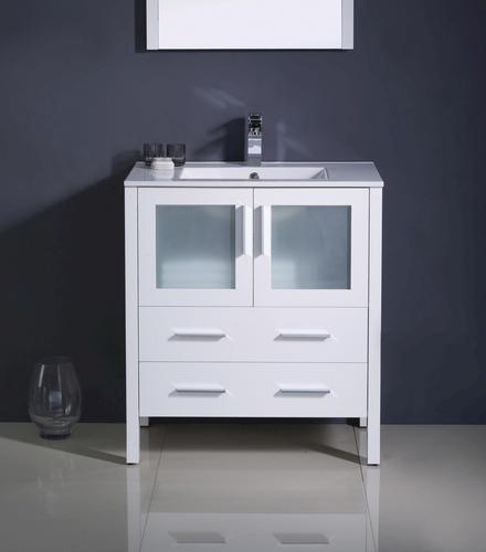 white modern bathroom vanity ensemble w integrated sink at menards