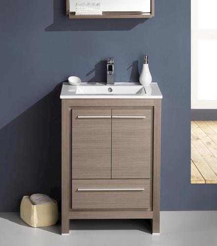 allier 24 gray oak modern bathroom vanity ensemble at menards