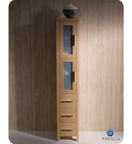 fresca torino light oak tall bathroom linen side cabinet at menards