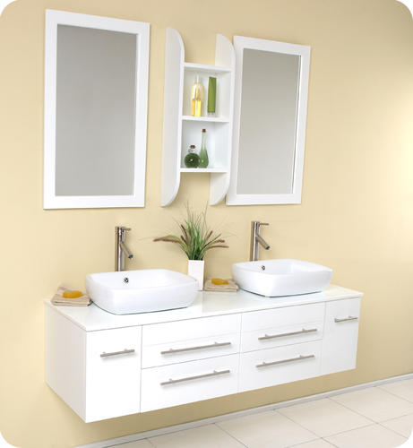 bellezza white modern double vessel sink bathroom vanity at menards