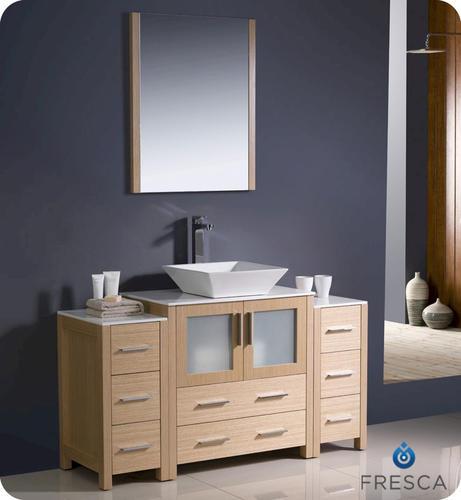 Fresca torino 54 light oak modern bathroom vanity w 2 side cabinets vessel sink at menards - Light oak bathroom vanity units ...