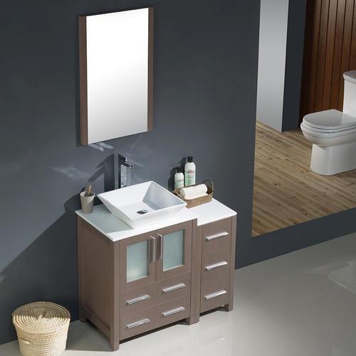 Oak Modern Bathroom Vanity w/ Side Cabinet amp; Vessel Sink at Menards
