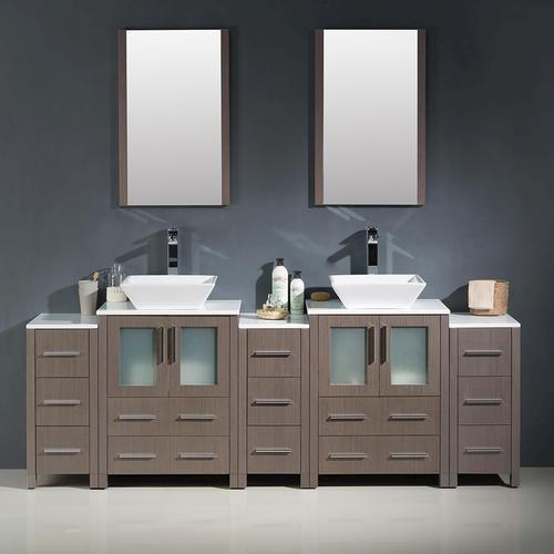 Fresca Torino 84 Gray Oak Modern Double Sink Bathroom Vanity W 3 Side Cabinets Vessel Sinks