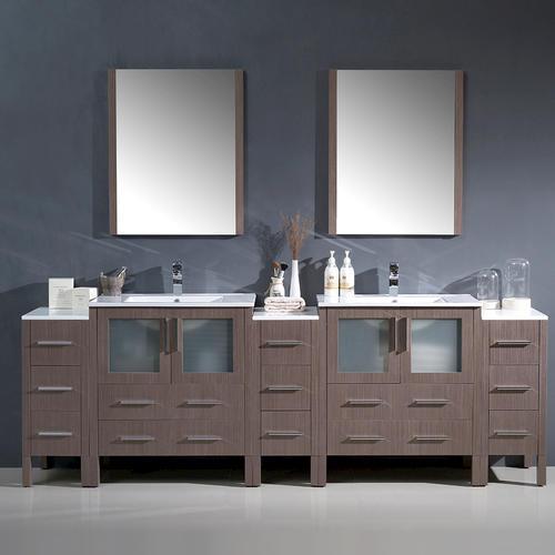 Fresca Torino 96 Gray Oak Modern Double Sink Bathroom Vanity W 3 Side Cabinets Integrated