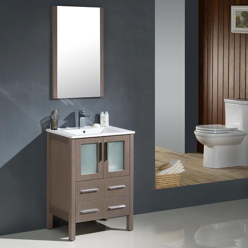 24 gray oak modern bathroom vanity w undermount sink at menards