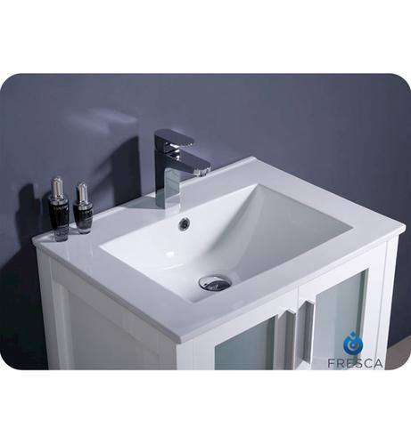 24 white modern bathroom vanity w undermount sink at menards