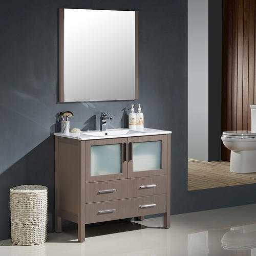36quot; Gray Oak Modern Bathroom Vanity w/ Undermount Sink at Menards