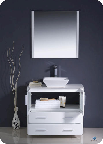 torino 36 white modern bathroom vanity w vessel sink at menards