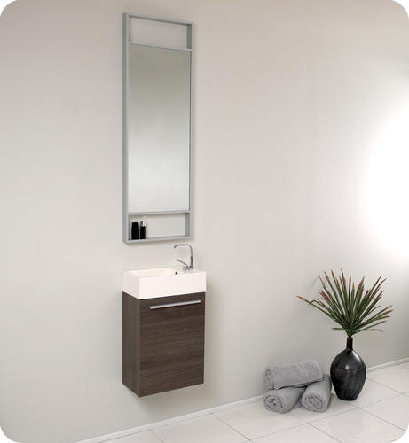Pulito Small Black Modern Bathroom Vanity w/ Tall Mirror at Menards