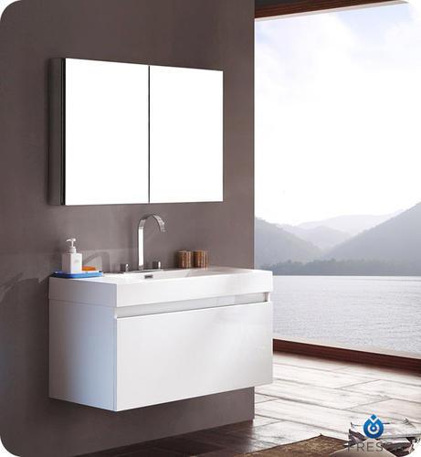 Fresca mezzo white modern bathroom vanity w medicine cabinet at menards - Menards bathroom wall cabinets ...