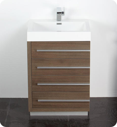 "Fresca Livello 24"" Gray Oak Modern Bathroom Vanity W/ Medicine Cabinet At Menards®"