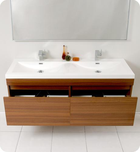 largo teak modern bathroom vanity w wavy double sinks at menards