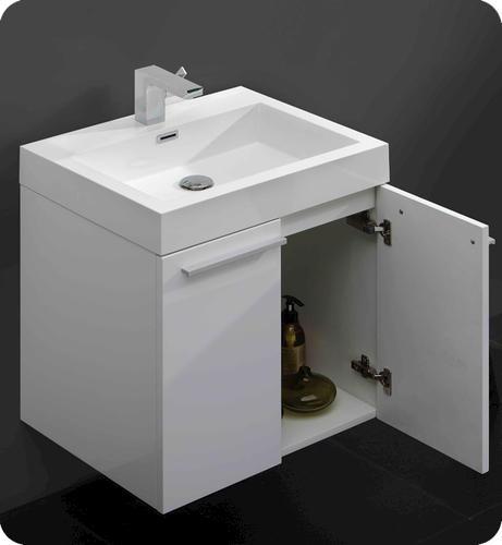 Fresca alto white modern bathroom vanity w medicine cabinet at menards - Menards bathroom wall cabinets ...