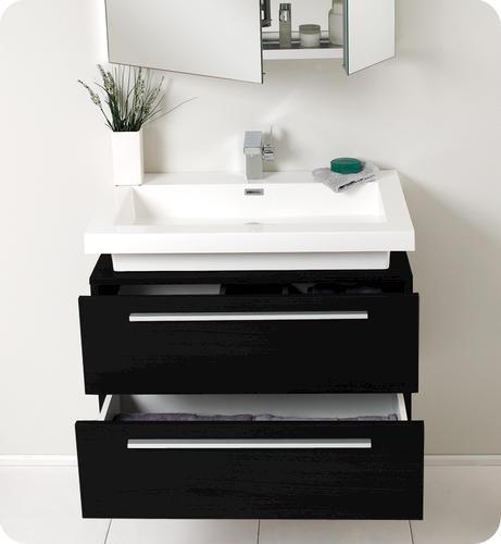 Fresca medio black modern bathroom vanity w medicine cabinet at menards - Menards bathroom wall cabinets ...