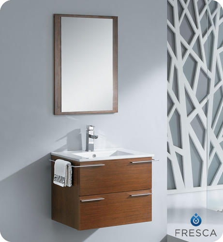 Fresca cielo 24 wenge brown modern bathroom vanity w for Wenge bathroom mirror