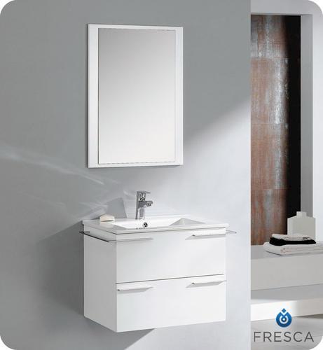 Fresca Cielo 24 White Modern Bathroom Vanity W Mirror At Menards