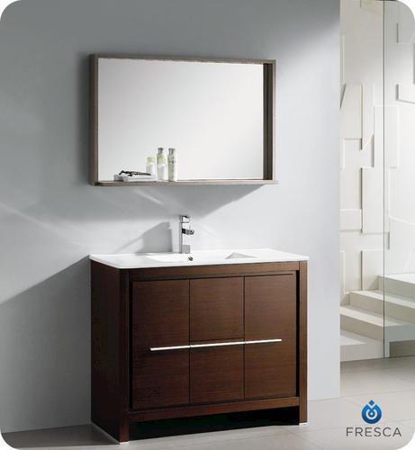 allier 40 wenge brown modern bathroom vanity w mirror at menards