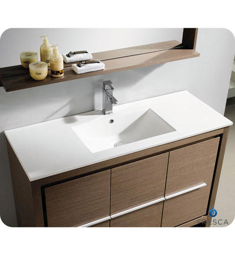 Fresca allier 48 gray oak modern bathroom vanity w - Menards bathroom vanities 48 inches ...