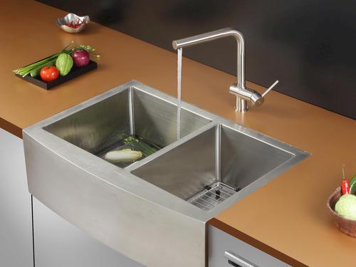 "Ruvati RVH9201 Apron Front 16 Gauge 33"" Kitchen Sink Double Bowl at Mena"