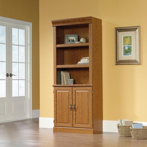 Sauder Orchard Hills Carolina Oak Library Bookcase With Doors At