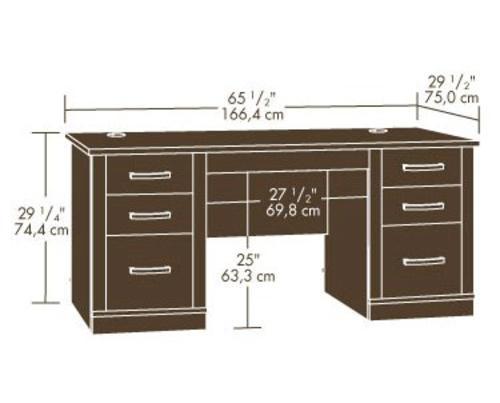 sauder office port dark alder executive desk at menards