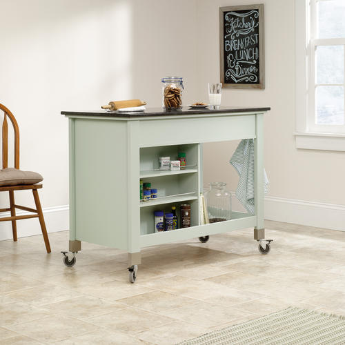sauder original cottage rainwater mobile kitchen island at