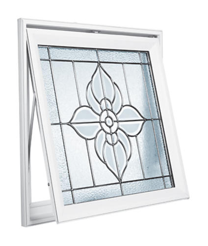 Hy Lite 29 X 29 Floral Satin Nickel Leaded Beveled