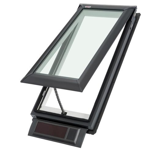 Velux deck mount solar operated vented skylight at menards for Velux solar skylight tax credit
