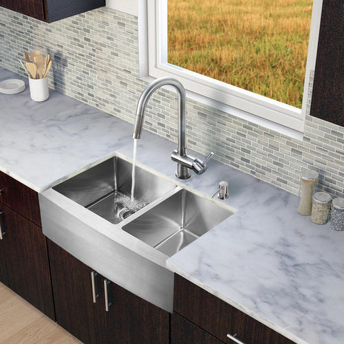 Farmhouse Sink Manufacturers : All in One 33-inch Farmhouse Stainless Steel Double Bowl Kitchen Sink ...