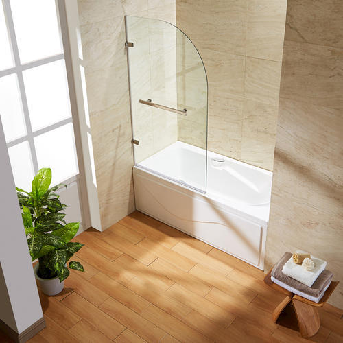 vigo orion clear curved bathtub door in stainless steel at