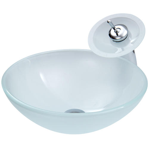 Vigo White Frost Glass Vessel Sink And Waterfall Faucet