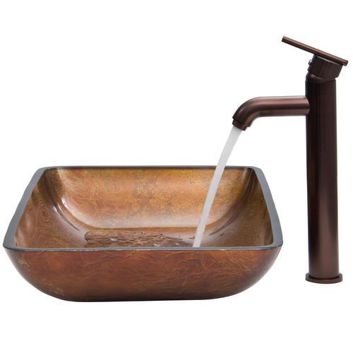 Vigo Rectangular Russet Glass Vessel Sink And Faucet Set