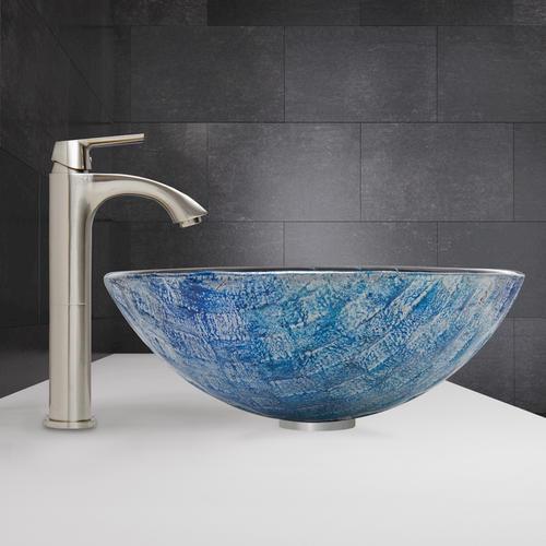 Vigo Oceania Glass Vessel Sink And Linus Faucet Set In