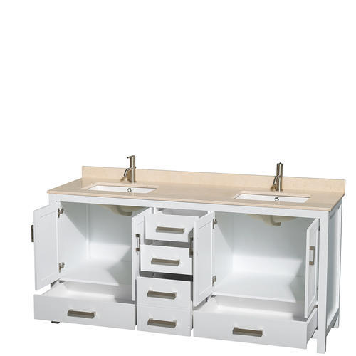 Wyndham Collection Sheffield 72 White Double Bathroom Vanity With Um Square Sinks No Mirror