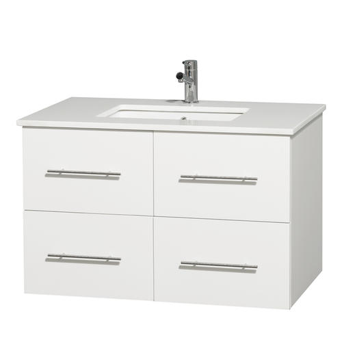White Bathroom Vanity with Square Porcelain UM Sink at Menards