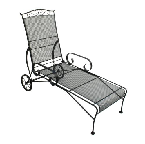 Backyard creations wrought iron chaise lounge at menards for Black wrought iron chaise lounge