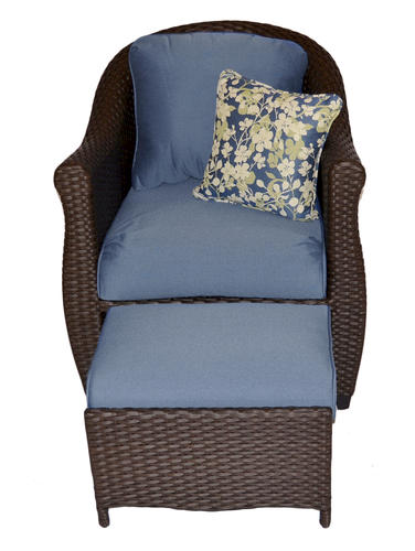 Etta Blue Fully Woven Chair with Hidden Ottoman at Menards